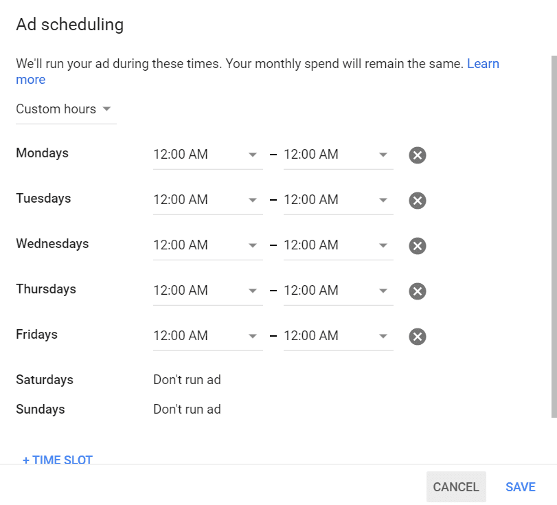Google call only ads - Ad scheduling