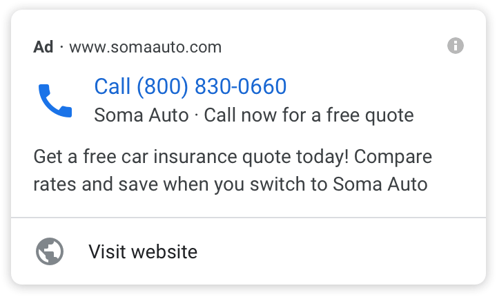 Call-Only Ads Example