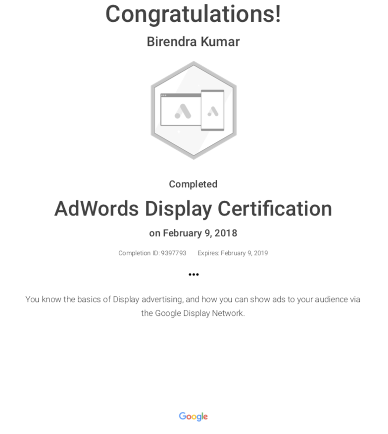 display certificates